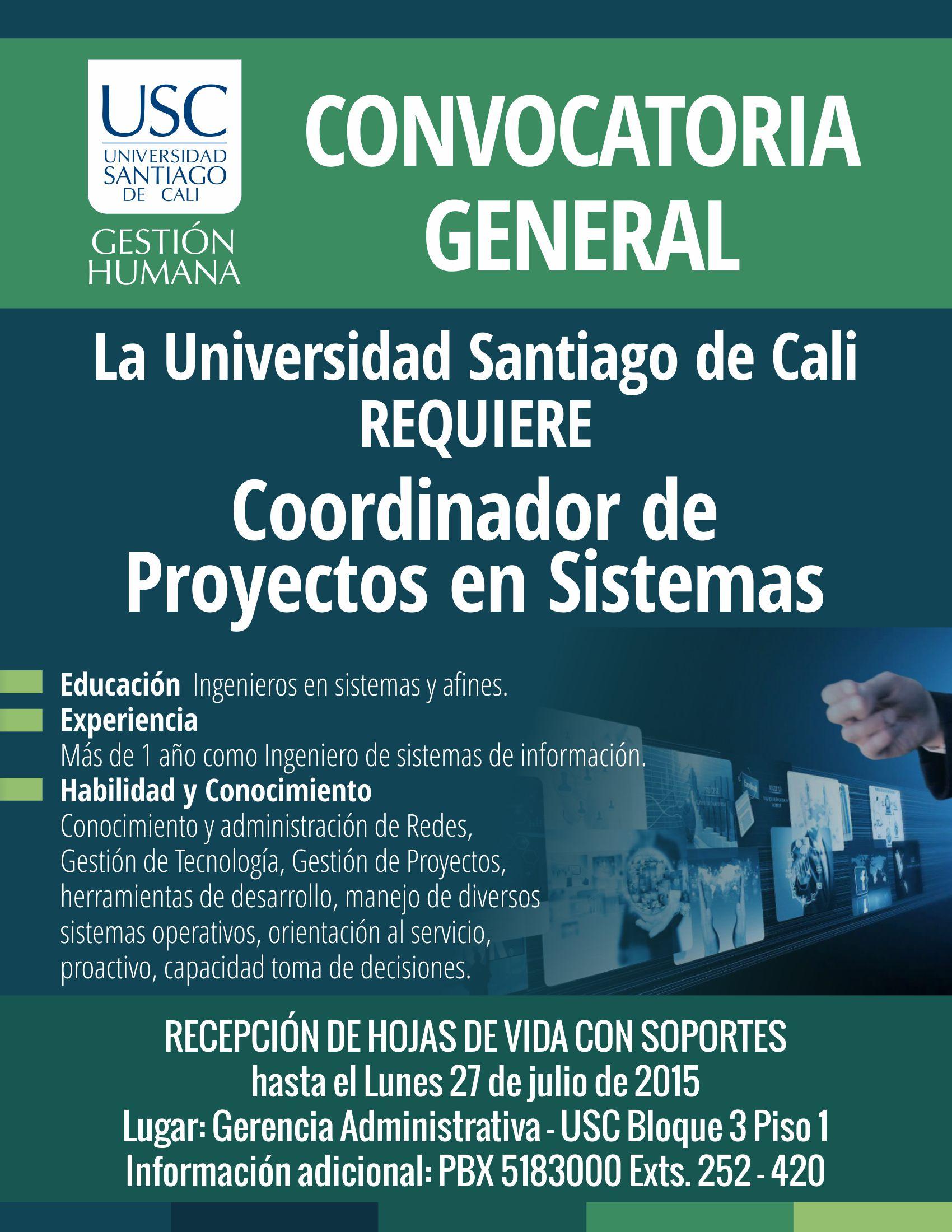 Convocatoria Coordinador De Proyectos En Sistemas
