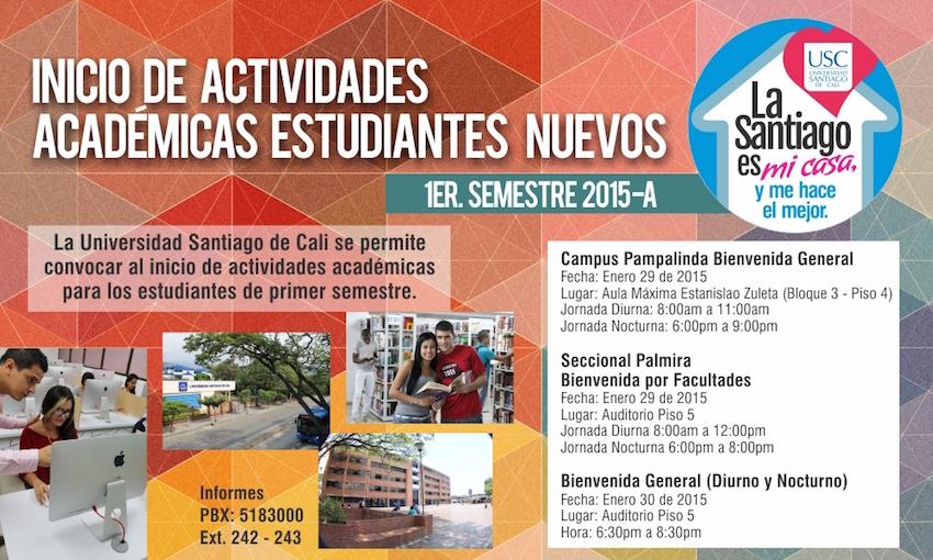 Bienvenida nuevos estudiantes 2015A