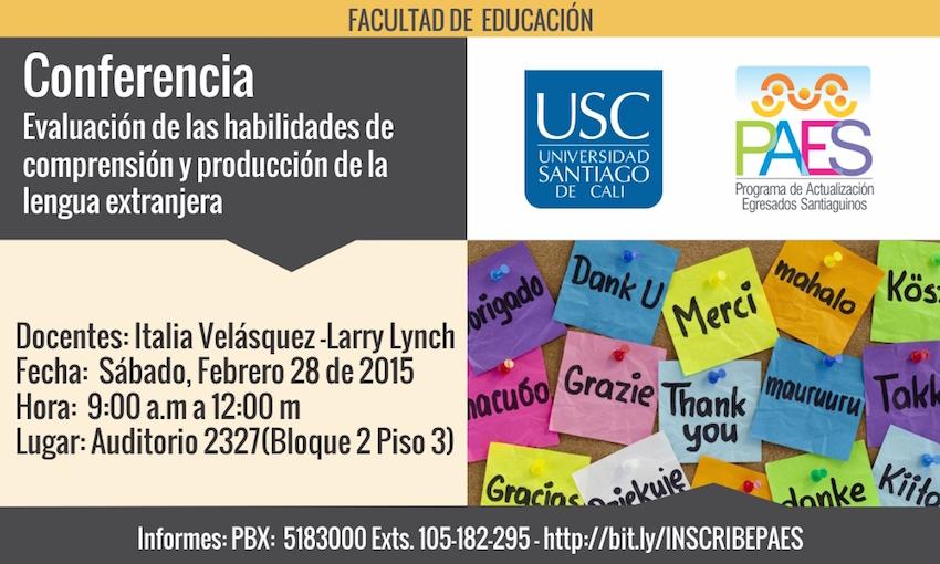 Conferencia Evaluación de las habilidades de comprensión y producción de la lengua extranjera