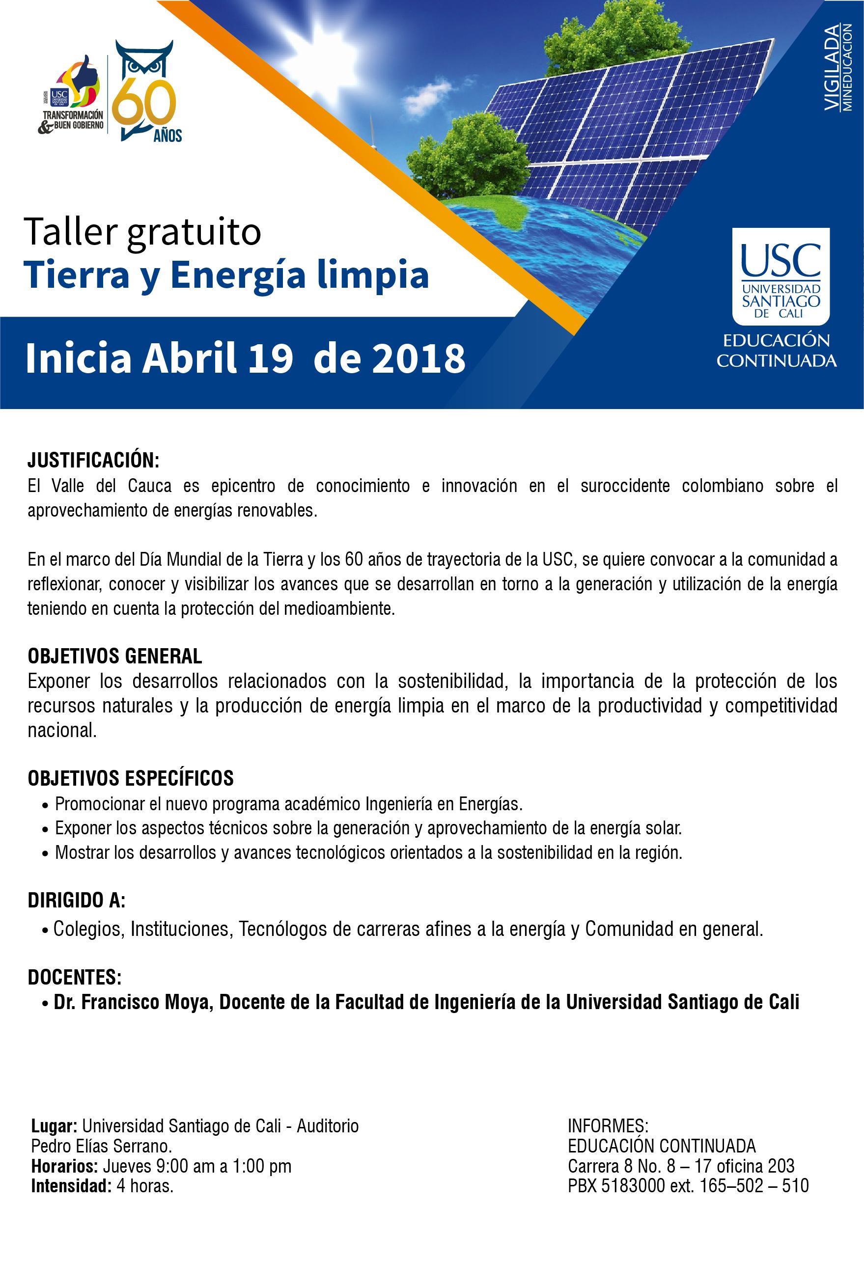 FICHA TECNICA EVENTO TIERRA Y ENERGIA LIMPIA  ABRIL 19 2018 FAC INGENIERIA