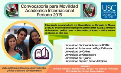 CONVOCATORIA MOVILIDAD ACADÉMICA INTERNACIONAL 2015